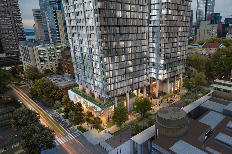 707 Terry features two 33-story towers with 486 apartment units and 7,600 square feet of retail and restaurant space located in the towers' podium.