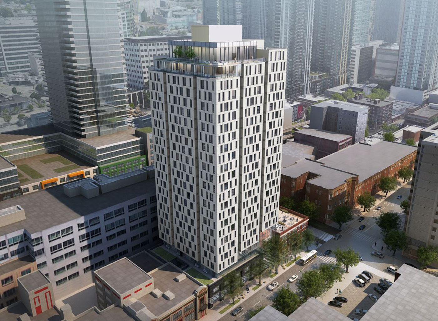 Plans for Fourth & Bell call for the construction of a 24-story, 287-unit tower next to the landmarked Franklin Apartments.