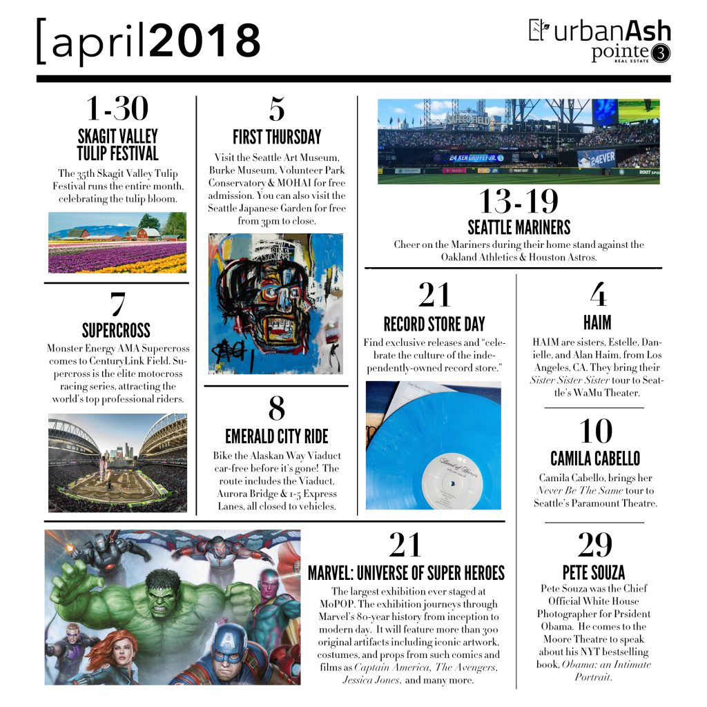 Here's our Seattle Event Guide for April 2018. There are lots of arts, music, food, sports, cultural events & more happening in Seattle this April.