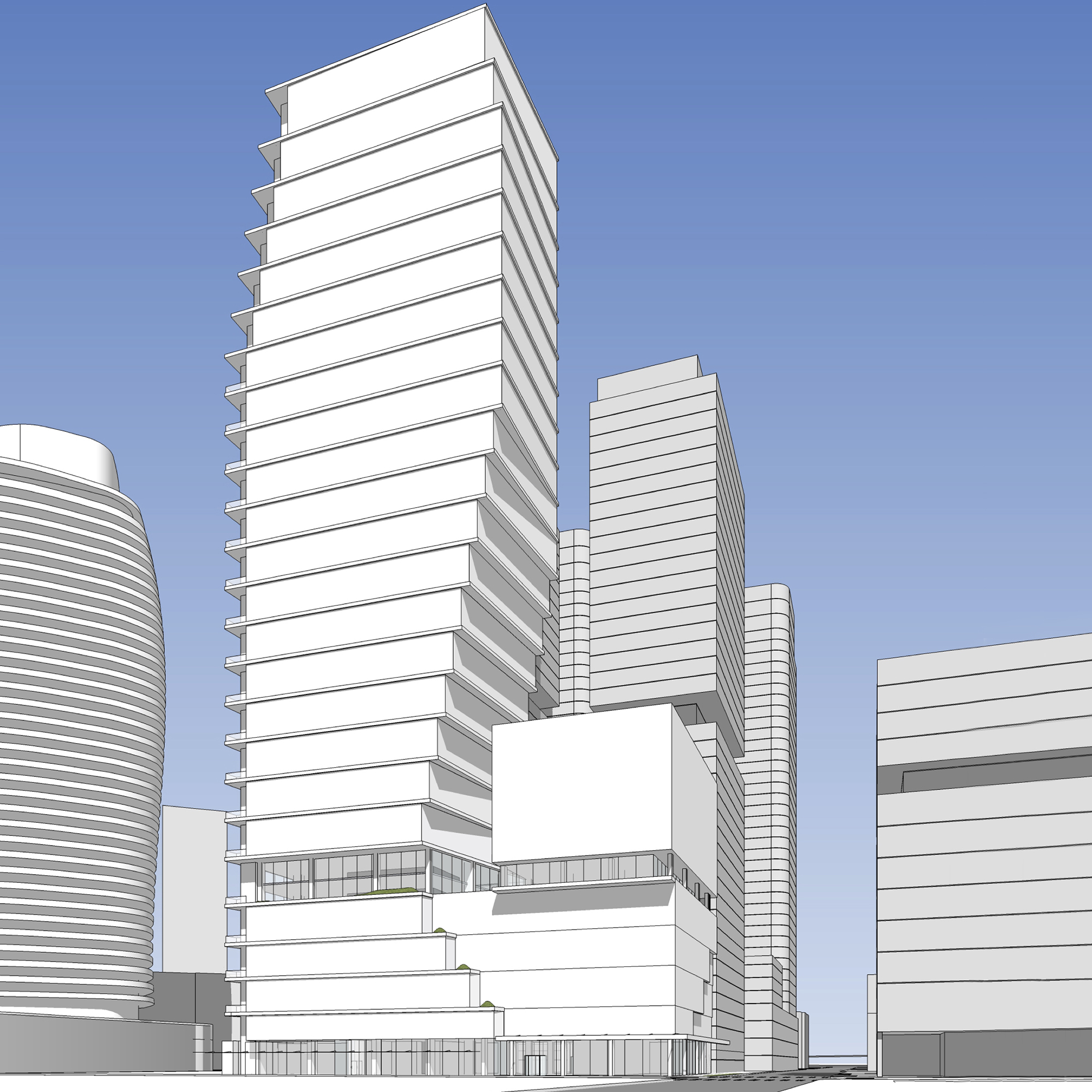 The two-tower project at 1916 Boren will include a 44-story residential tower and a 16-story adjoining hotel tower.