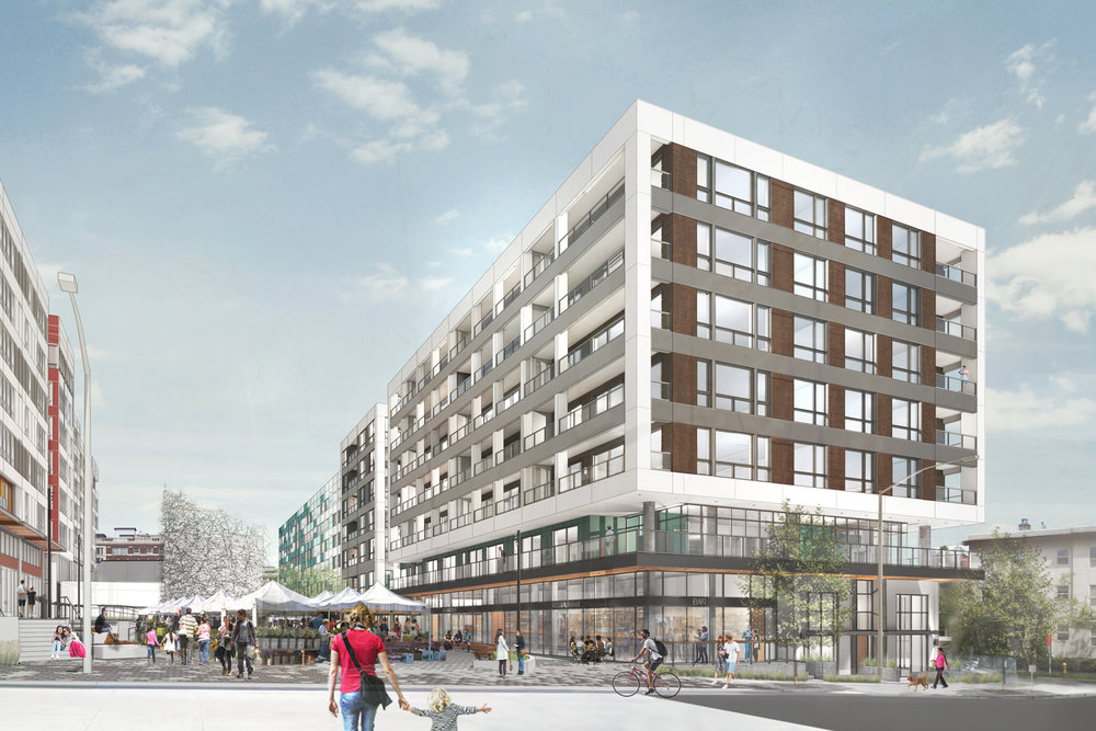 Plans for the Capitol Hill Station TOD include four seven-story mixed-use buildings with a public plaza at its center.
